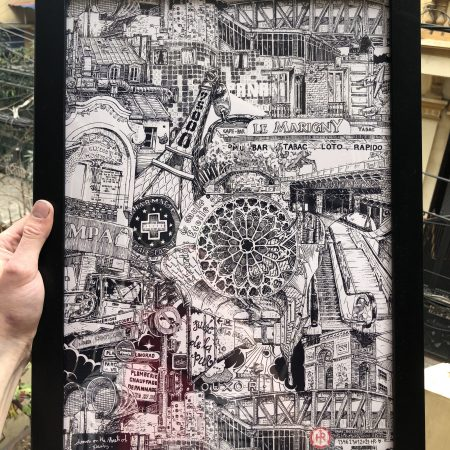 Paris Illusion poster drawing black and white